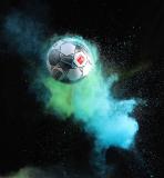 firo Fußball: Fussball:  14.06.2019 1.Bundesliga: 2019/2020 Der neue Spielball von Derbystar für die 1 + 2 Bundesliga Holi Pulver  , Farbpulver , Explosion , Highlight Feature , Hinterleger , Hintergrund ,  Derbystar Brillant APS 2019/2020. $worldrights,Es gelten  unsere AGB, einsehbar auf www.firosportphoto.de, copyright by firo sportphoto: Coesfelder Str. 207 D-48249 Dülmen mail@firosportphoto.de (V o l k s b a n k   B o c h u m - W i t t e n ) BLZ.: 430 601 29 Kt. Nr.: 341 117 100 Tel: +49-2594-9916004 Fax:+49-2594-9916005